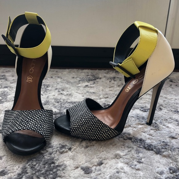 Black, white and Neon Green Aldo Heels